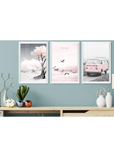 Çerçeve Home   Pink Wv Decorative Beyaz Çerçeve Tablo Seti Beyaz